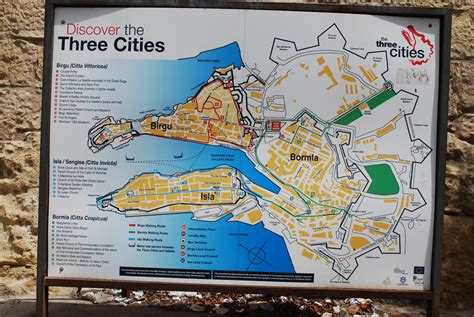 malta vittoriosa three cities wall map le