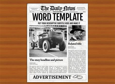 vintage word newspaper template flyer templates