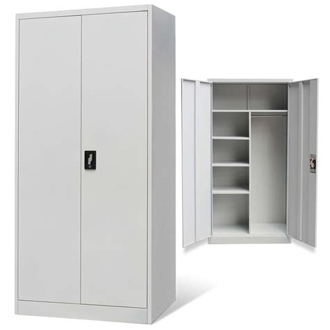 metal cabinet with doors metal locker style cabinet 2 doors grey www vidaxl ie