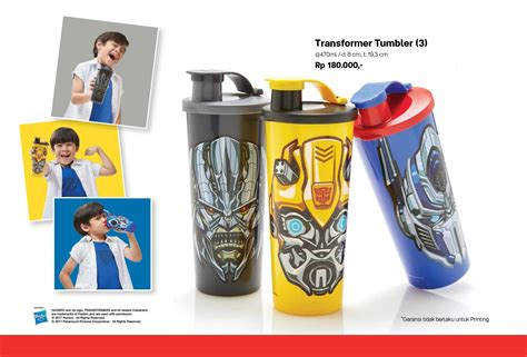 Tupperware Botol Karakter transformer tumbler 3 pcs tupperware botol minum tupperware