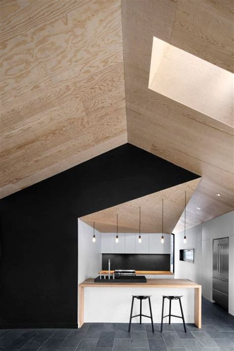 Marine Ply Ceiling by Plywood Ceiling Cathedral Ceiling Black Accent Wall