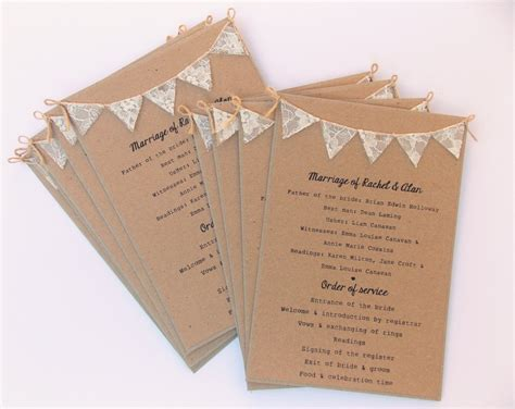 card programs order of service cards rustic wedding kraft card with lace