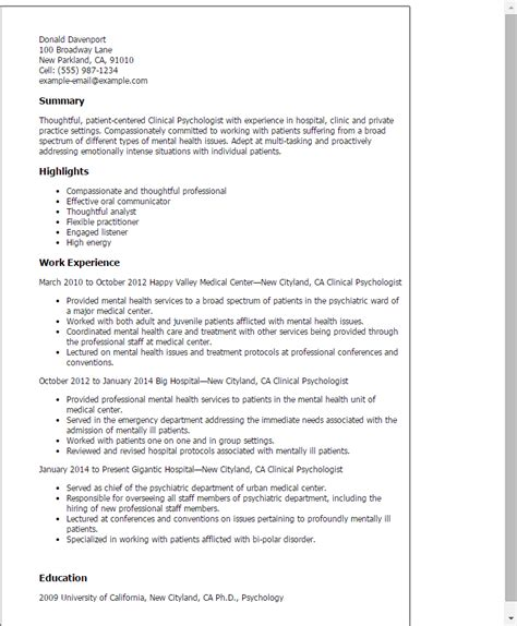 Psychology Resume by Professional Clinical Psychologist Templates To Showcase