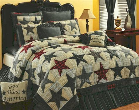 americana bedding america stars americana primitive 4pc quilt bedding set