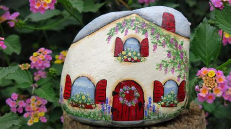 Upcycled Home - painted fairy cottage garden rock miniature house gnome