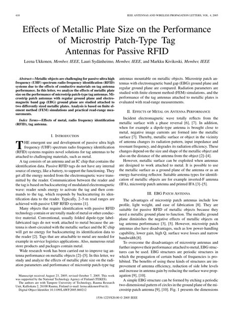 Pdf Effects Of Metallic Plate Size On The Performance Of Microstrip Patch Type Tag Antennas Ieee Antennas And Wireless Propagation Letters Template