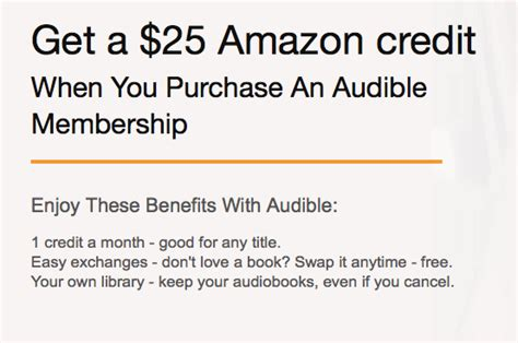 Amazon Gift Card Work For Audible - amazon audible free 25 amazon credit two free audiobooks with prime my money blog