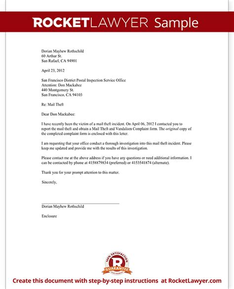Complaint Letter Vandalism letter to report mail theft template with sle