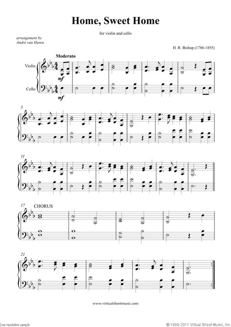 the sweethome best sheets bishop home sweet home sheet music for violin and cello
