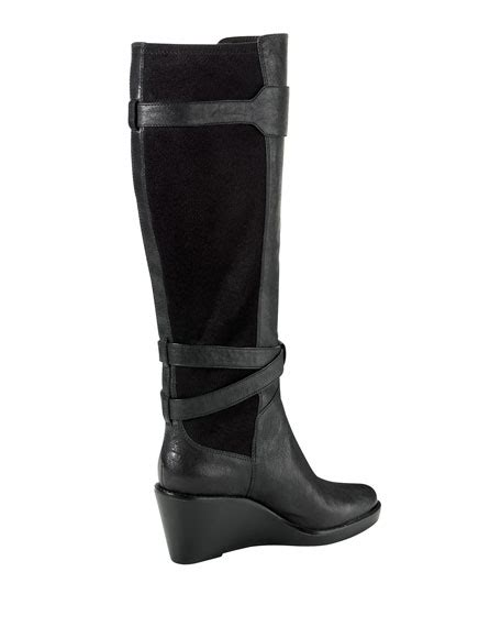 cole haan leather wedge boot black