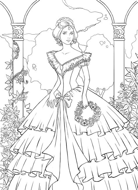 intricate princess coloring page detailed princess coloring pages printable