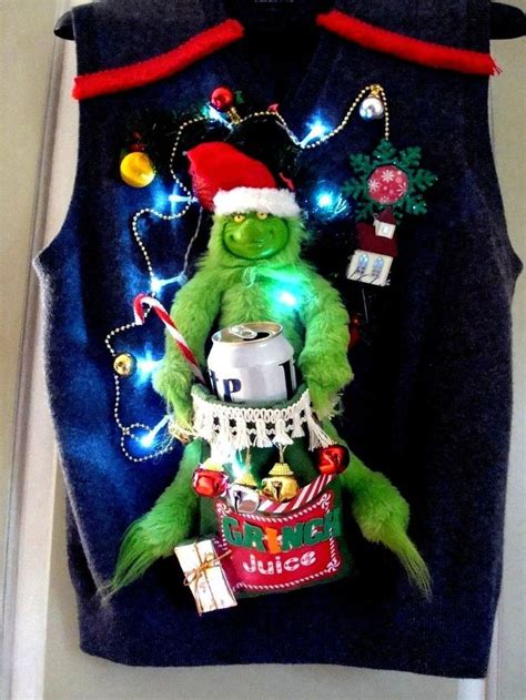 the grinch sweater with lights mens ugly christmas sweater vest beer cozy grinch juice