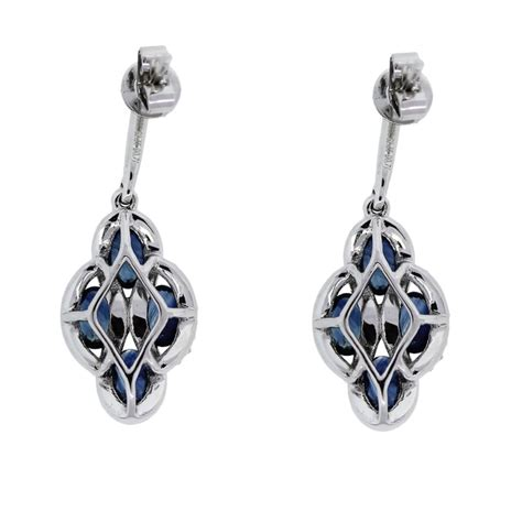 14k white gold and sapphire drop dangle earrings