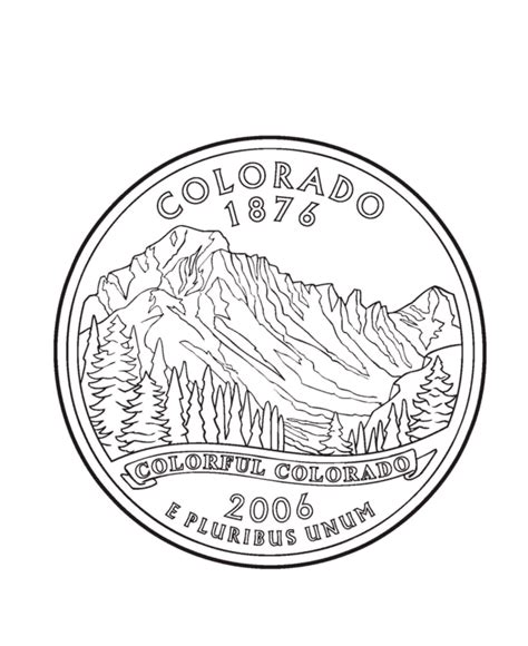 coloring page of quarter colorado state quarter coloring page usa state