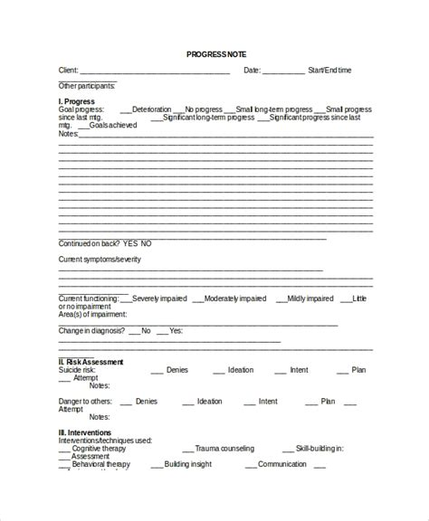psychology progress note template 6 therapy notes templates sle templates