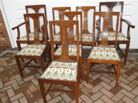 Arts And Crafts Dining Chairs Set 8 Antique Oak Arts Crafts Dining Chairs 152562 Sellingantiques Co Uk