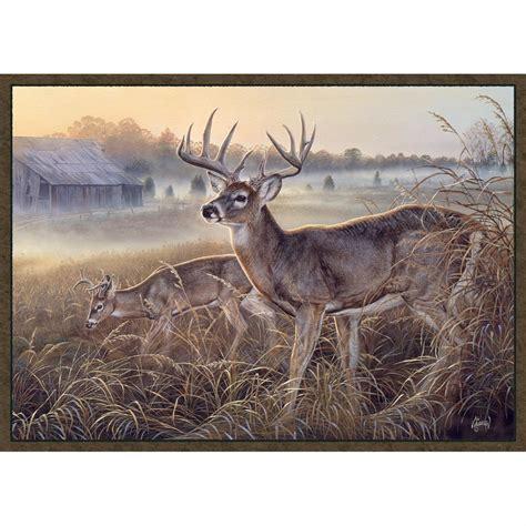 deer rug custom printed rugs 37x52 quot last glance mule deer rug 216662 rugs at sportsman s guide