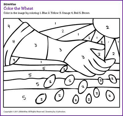 Color The Wheat Color By Number Kids Korner Biblewise