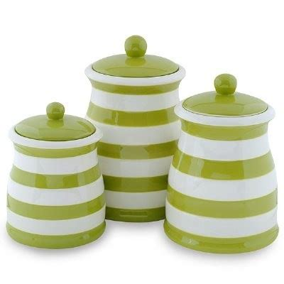 green canister sets kitchen green white stripe ceramic kitchen canister set products i kitchen