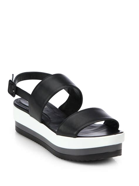 Sandal Platform 2 Hitam fendi leather doublestrap platform sandals in black lyst