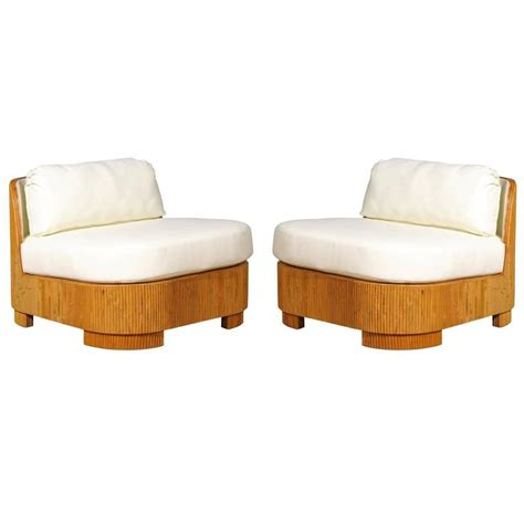 Baldwin Slipper Chair exemplary pair of restored large scale vintage bamboo