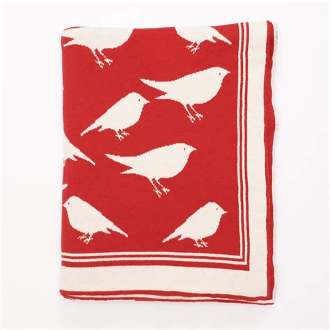darzzi red natural bird throw blanket 50x60