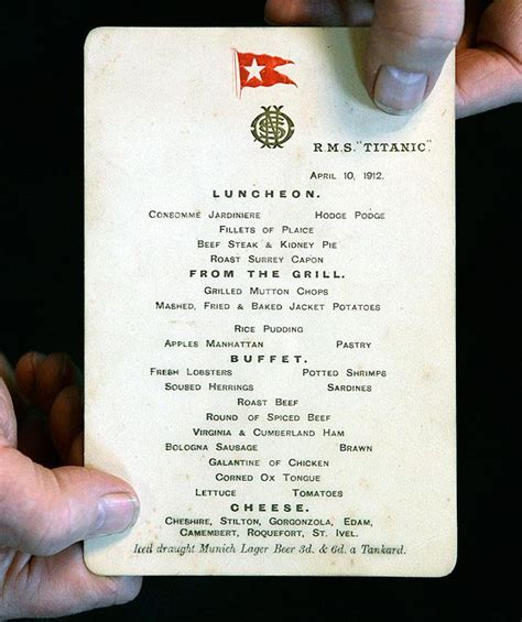 titanic menu titanic s last lunch menu sells for 88 000 at auction