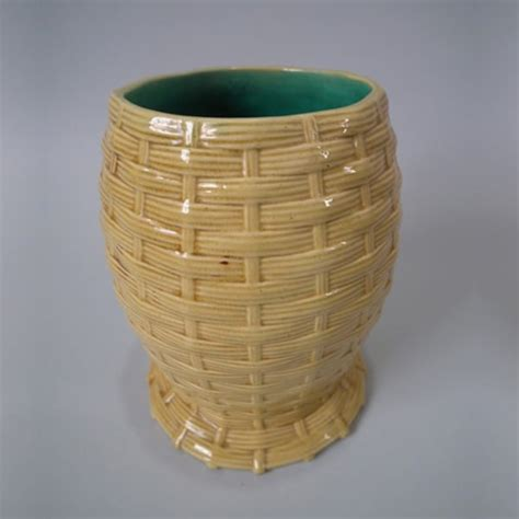 Basket Weave Vase by Mintons Majolica Basket Weave Vase