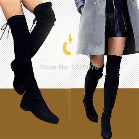 thigh high boots flat heel plus size uk3 9 womens goatskin the knee thigh