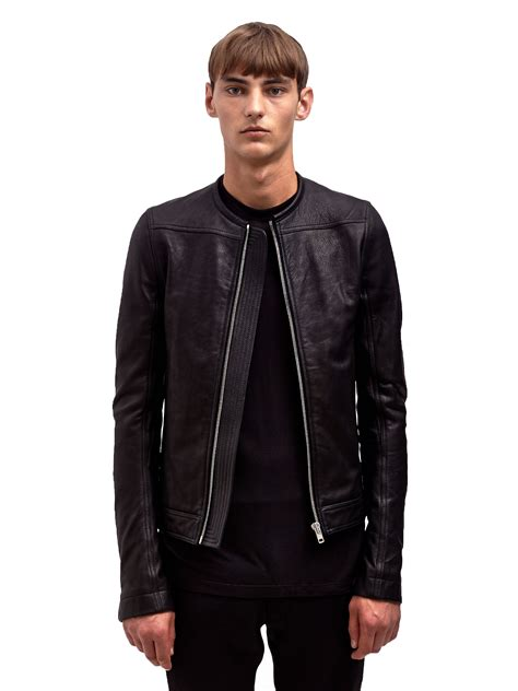 Rik Black lyst rick owens mens leather biker jacket in black for