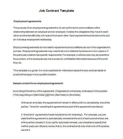 employment agreement template free employee contract templates free templates resume