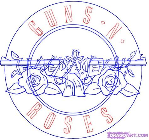The Draw How To Draw Guns N Roses Symbol Step By Step Band Logos