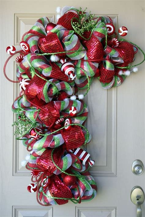 outdoor candycane ribbon 145 best poly deco mesh wreaths creations images on wreaths