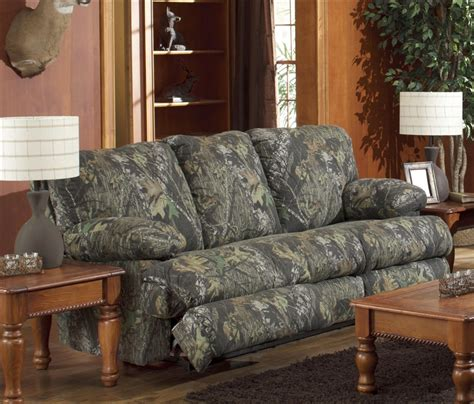 wintergreen reclining sofa in mossy oak camouflage fabric