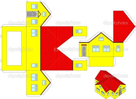 3d Paper Folding Templates - printable house 3d printable 3d paper craft of a house