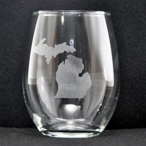 engraved michigan stemless glass personalize