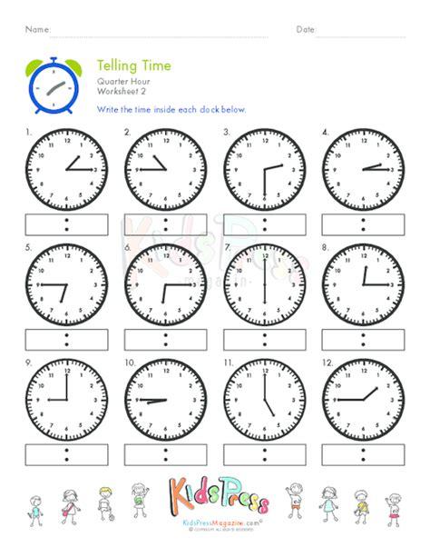 clock worksheets quarter to telling time quarter hour worksheet 2 kidspressmagazine com