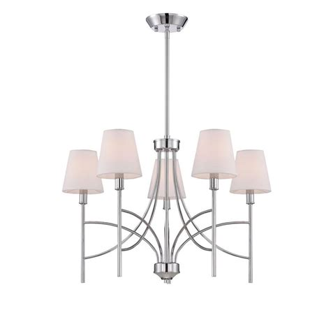 Chandelier With Fabric Shade World Imports Millau Collection 5 Light Chrome Chandelier With Fabric Shade Wi975108 The Home