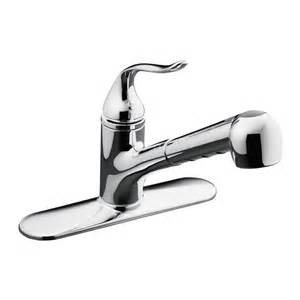shop kohler coralais polished chrome pull out kitchen faucet at lowes com