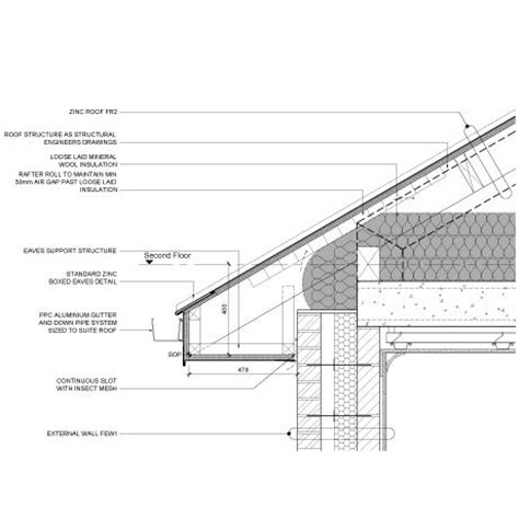 Slate Roof Section by Zinc Eaves Detail D E T A L H A M E N T O