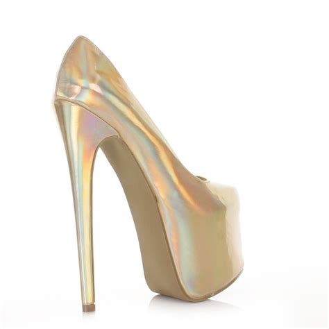 high heel slippers court shoes hologram metallic high heel