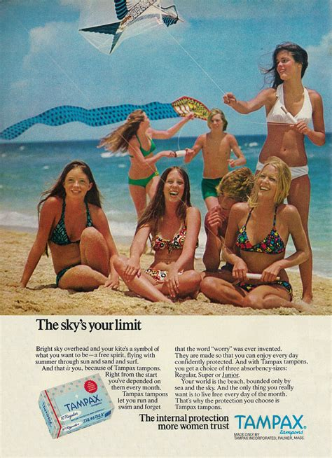 Bright White 1973 tampax tampons ad teen girls in 70 s bikinis flying