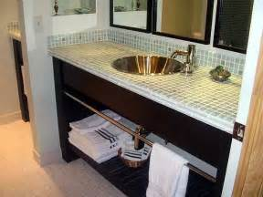 Tile Bathroom Countertop Ideas by Bathroom Decor Vanity Glass Tile Counter Top Bathrooms
