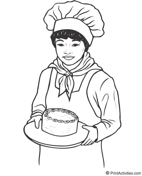baker coloring page female baker coloring activity