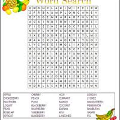 printable word search healthy eating fruit word search