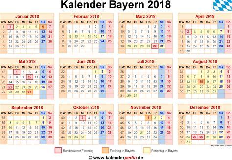 Kalender 2018 Zum Ausdrucken Mit Feiertagen Bayern Kalender 2018 Bayern Ferien Feiertage Word Vorlagen