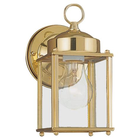 Brass Outdoor Light Fixtures Sea Gull Lighting New Castle 1 Light Polished Brass Outdoor Wall Fixture 8592 02 The Home Depot