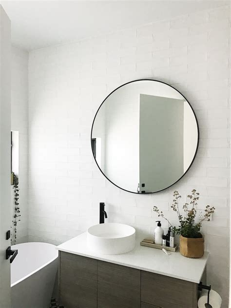 Round Mirror Bathroom | gina s home black and white bathroom reveal style curator