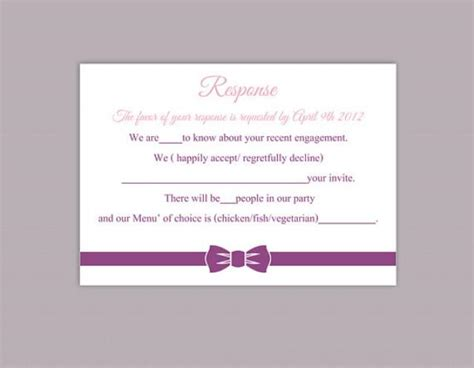 Response Card Template Word by Diy Wedding Rsvp Template Editable Word File Instant
