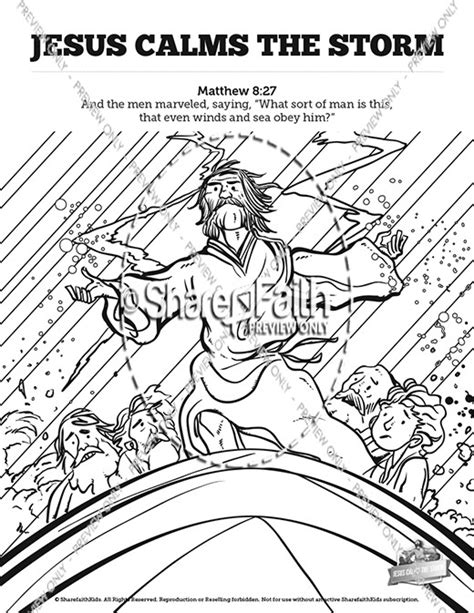 coloring page jesus calms the jesus calms the bible bookmarks bible bookmarks
